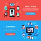 Знамена устройств здоровья цифров плоские Стоковые Изображения