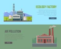 Знамена фабрики и загрязнения воздуха экологичности Стоковое фото RF