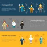 Знамена характеров профессии горизонтальные плоские Стоковые Фото