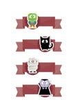 Знамена характеров хеллоуина милые Стоковые Фотографии RF