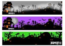 Знамена хеллоуина с силуэтом зомби и усыпальницы иллюстрация штока