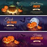 Знамена хеллоуина с характерами на предпосылке Ландшафт осени ночи Стоковое Изображение RF