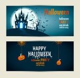 Знамена хеллоуина установили на голубую и синюю предпосылку Invitatio иллюстрация штока