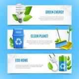 Знамена экологичности реалистические бумажные иллюстрация вектора