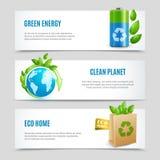 Знамена экологичности горизонтальные в бумажном дизайне иллюстрация штока