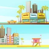 Знамена Miami Beach горизонтальные Стоковые Изображения