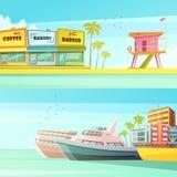 Знамена Miami Beach горизонтальные Стоковые Фотографии RF