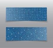 Знамена sequins горизонтального комплекта голубые glitter иллюстрация вектора