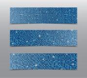 Знамена sequins горизонтального комплекта голубые glitter иллюстрация штока