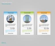 3 знамени тарифов Таблица оценки сети Дизайн вектора для сети app Знамена тарифа дела списка цен на товары Стоковое Изображение