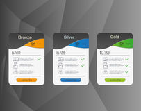 3 знамени тарифов Таблица оценки сети Дизайн вектора для сети app Список цен на товары Стоковое фото RF