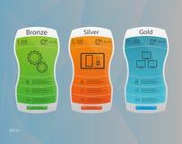3 знамени тарифов Таблица оценки сети Дизайн вектора для сети app Список цен на товары Стоковое Изображение