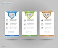 3 знамени тарифов Таблица оценки сети Дизайн вектора для сети app Установленные тарифы предложения Список цен на товары Стоковое Изображение