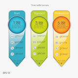 3 знамени тарифов Таблица оценки сети Дизайн вектора для сети app Установленные тарифы предложения Список цен на товары Стоковая Фотография RF