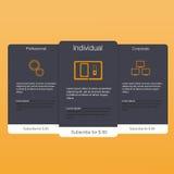 3 знамени тарифов Таблица оценки сети Дизайн вектора для сети app Стоковое Изображение