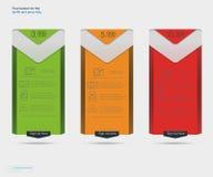 3 знамени тарифов Таблица оценки сети Дизайн вектора для сети app Стоковое фото RF