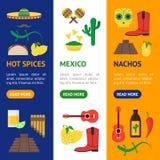 Знамени цвета культуры шаржа вектор Vecrtical мексиканского установленный Стоковая Фотография