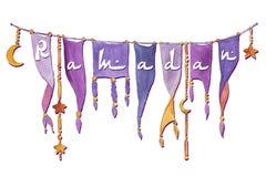 Знамя акварели Рамазана Стоковые Изображения