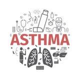 Знамя астмы симптомы Значки астмы вектор комплекта сердец шаржа приполюсный стоковая фотография rf