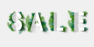 Знамя белой продажи с отрезком и зеленым цветом бумаги выходит бумажному ремеслу флористический перевод 3d, с путем клиппирования Стоковая Фотография RF