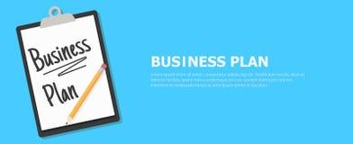 Знамя бизнес-плана Таблетка с текстом и карандашем Стоковые Фотографии RF