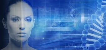 Знамя биотехнологии и генной инженерии Стоковые Изображения RF