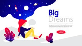 Знамя больших мечт горизонтальное для вашего вебсайта иллюстрация штока
