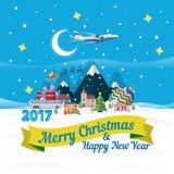 Знамя большой продажи рождества плоское Vector иллюстрация для вебсайта, объявления, знамена Стоковое Фото