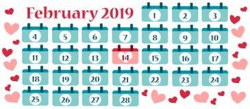 Знамя Валентайн с календарем на февраль бесплатная иллюстрация