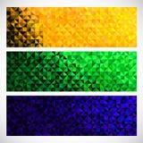 Знамя вектора геометрическое Предпосылка цвета флага Бразилии Аннотация Стоковые Изображения