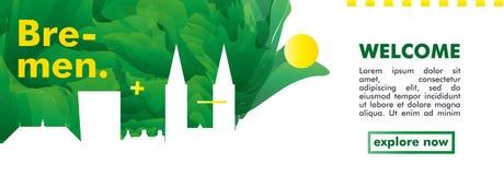 Знамя вектора градиента города горизонта Германии Бремена Стоковое Фото