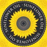 Знамя вектора для подсолнечного масла с солнцецветом иллюстрация штока