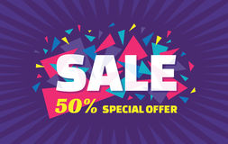 Знамя вектора концепции - специальное предложение - продажа 50% Знамя продажи с абстрактными элементами треугольника абстрактное  Стоковое Фото