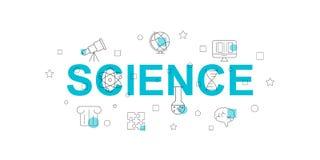 Знамя вектора науки Слово с линией значком иллюстрация штока