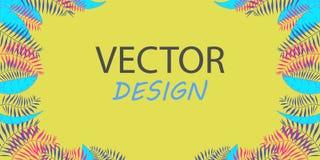 Знамя вектора неоновое с листьями ладони Дизайн рамки для текста Знамя с тропическими заводами Стоковое фото RF