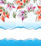 Знамя вектора причудливых цветков Стоковое Изображение RF