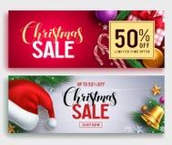 Знамя вектора продажи рождества установило с текстом скидки продажи и красочными элементами рождества иллюстрация штока