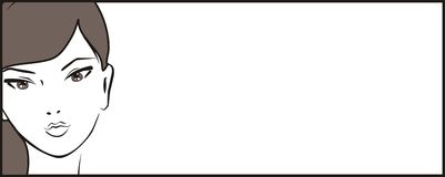 Знамя вектора с девушкой Стоковая Фотография RF