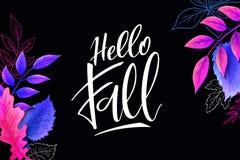Знамя вектора с ярлыком литерности руки - здравствуйте! падение - и листья иллюстрация вектора