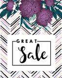 Знамя вектора для большой продажи Фиолетовые пионы и пятно щетки шеврона современное в ультрамодных пастельных цветах Стоковые Фото