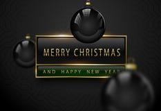 Знамя веселого Chistmas и счастливого Нового Года роскошное Золотой текст, черное зеленое прямоугольное знамя рамки ярлыка Темная стоковое фото rf