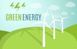 Знамя ветротурбин Современная альтернативная энергия зеленого цвета Eco также вектор иллюстрации притяжки corel Стоковые Изображения