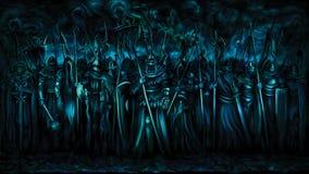 Знамя воинов темных века иллюстрация штока