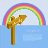 Знамя воодушевленности удачливое на коричневом указателе на голубой предпосылке, радуге, белом ipsum Lorem Стоковая Фотография RF