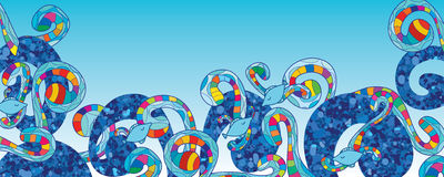Знамя голубых рыб свирли яркого блеска красочное Стоковые Изображения