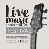Знамя для живой музыки фестиваля с шеей гитары иллюстрация вектора
