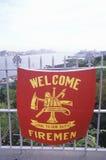 Знамя для пожарных в памяти о 11-ое сентября Стоковое Изображение RF