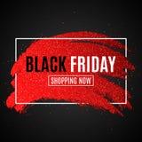 Знамя для продажи черная пятница Щетка Grunge с яркими блесками в белой рамке Темная предпосылка Крышка для вашего дизайна Вектор Стоковые Фотографии RF