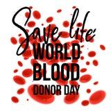 Знамя дня донора мира с знаком жизни спасения на белой предпосылке с красными клетками крови шаржа Стоковое Фото