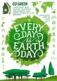 Знамя дня земли с значком предохранения от экологичности Стоковое Изображение